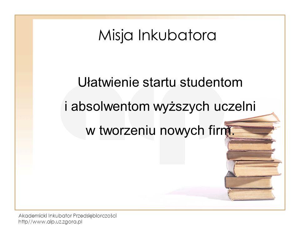 Akademicki Inkubator Przedsiębiorczości http//www.aip.uz.zgora.pl Misja Inkubatora Ułatwienie startu studentom i absolwentom wyższych uczelni w tworzeniu nowych firm.