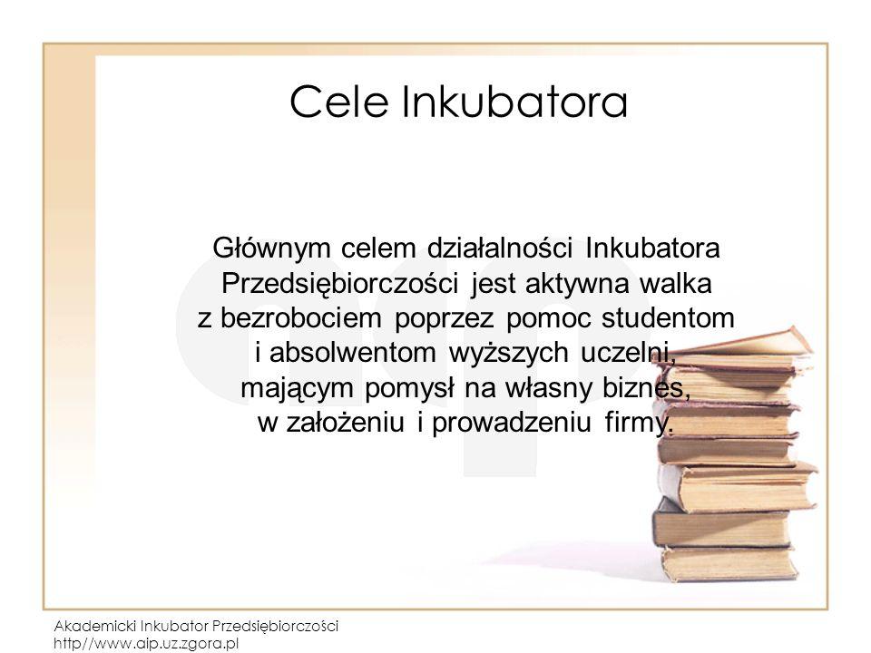Akademicki Inkubator Przedsiębiorczości http//www.aip.uz.zgora.pl Cele Inkubatora Głównym celem działalności Inkubatora Przedsiębiorczości jest aktywna walka z bezrobociem poprzez pomoc studentom i absolwentom wyższych uczelni, mającym pomysł na własny biznes, w założeniu i prowadzeniu firmy.