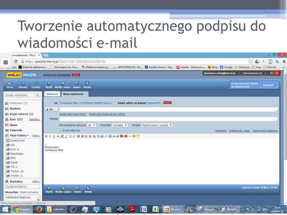Tworzenie automatycznego podpisu do wiadomości e-mail