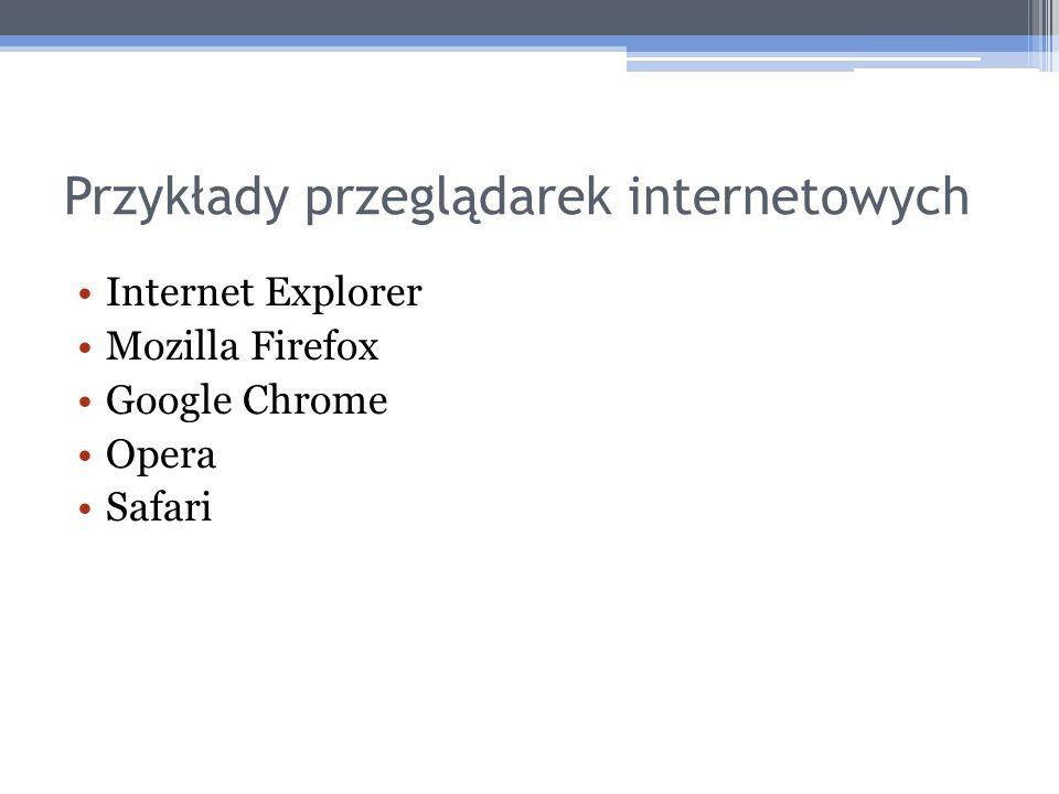 Przykłady przeglądarek internetowych Internet Explorer Mozilla Firefox Google Chrome Opera Safari