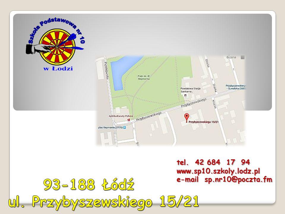 tel. 42 684 17 94 www.sp10.szkoly.lodz.pl e-mail sp.nr10@poczta.fm