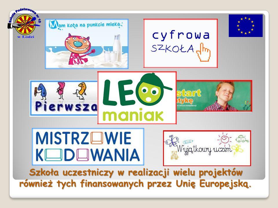 Szkoła uczestniczy w realizacji wielu projektów również tych finansowanych przez Unię Europejską.