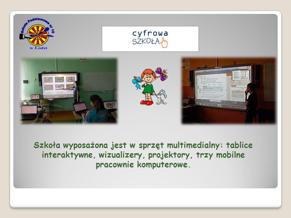 Szkoła wyposażona jest w sprzęt multimedialny: tablice interaktywne, wizualizery, projektory, trzy mobilne pracownie komputerowe.
