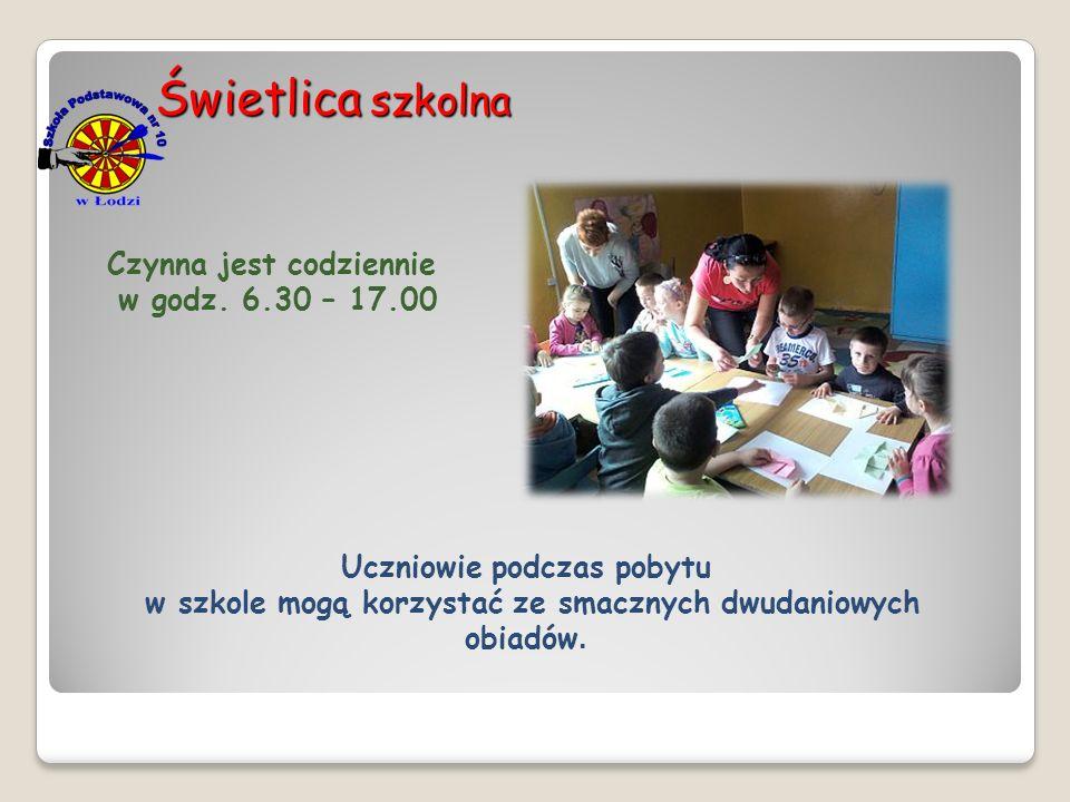 Świetlica szkolna Czynna jest codziennie w godz. 6.30 – 17.00 Uczniowie podczas pobytu w szkole mogą korzystać ze smacznych dwudaniowych obiadów.