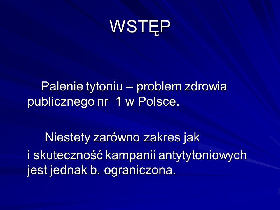 WSTĘP Palenie tytoniu – problem zdrowia publicznego nr 1 w Polsce.