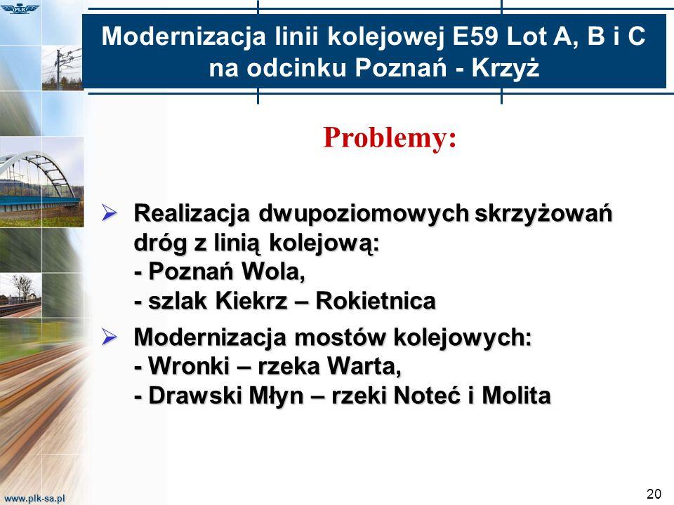 www.plk-sa.pl 20 Problemy:  Realizacja dwupoziomowych skrzyżowań dróg z linią kolejową: - Poznań Wola, - szlak Kiekrz – Rokietnica  Modernizacja mos