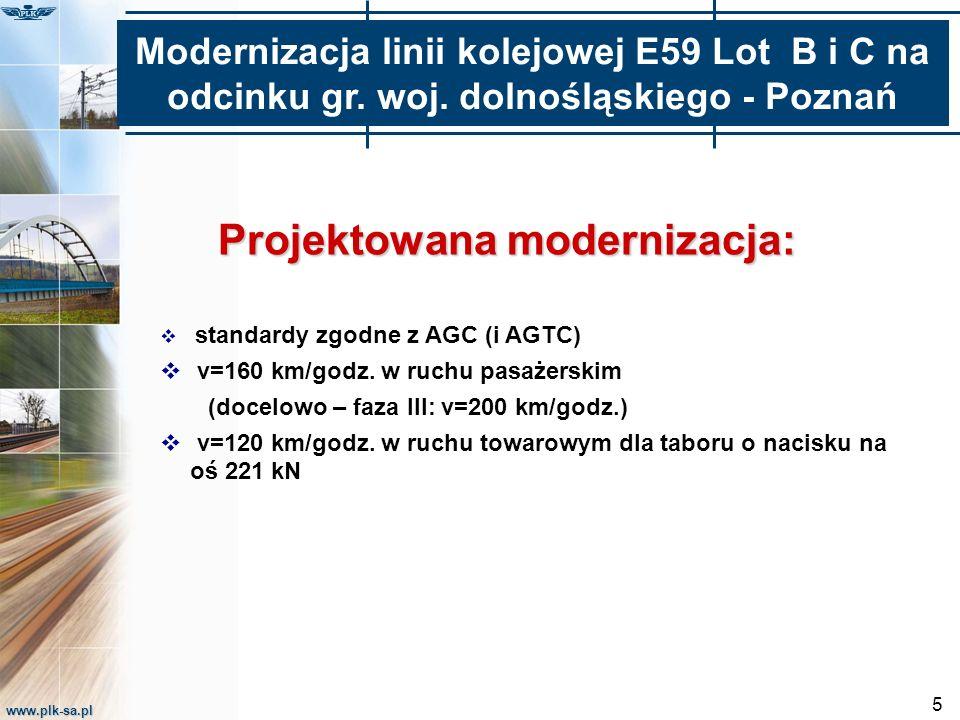 www.plk-sa.pl 5 Projektowana modernizacja:  standardy zgodne z AGC (i AGTC)  v=160 km/godz. w ruchu pasażerskim (docelowo – faza III: v=200 km/godz.