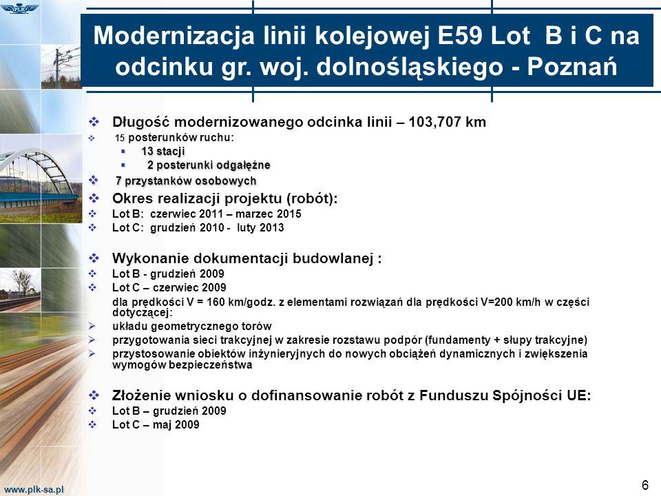 www.plk-sa.pl 6  Długość modernizowanego odcinka linii – 103,707 km  15 posterunków ruchu:  13 stacji  2 posterunki odgałęźne  7 przystanków osob
