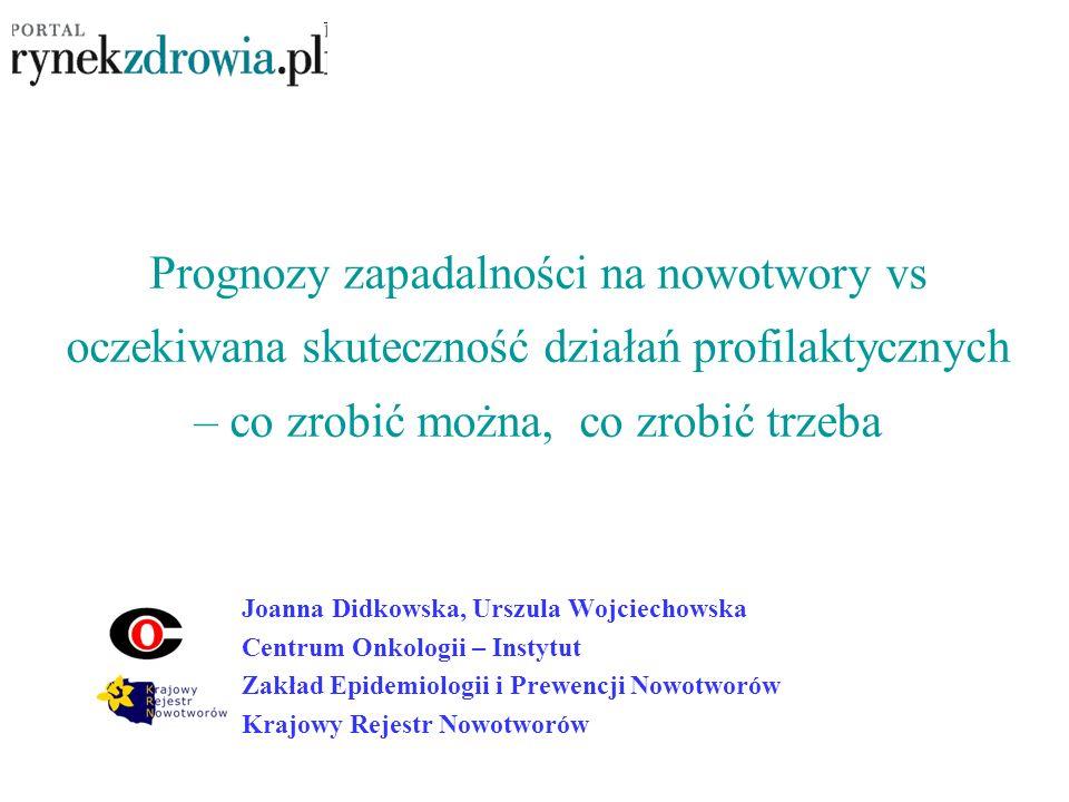 Prognozy zapadalności na nowotwory vs oczekiwana skuteczność działań profilaktycznych – co zrobić można, co zrobić trzeba Joanna Didkowska, Urszula Wo