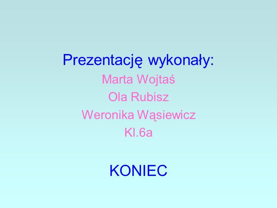 Prezentację wykonały: Marta Wojtaś Ola Rubisz Weronika Wąsiewicz Kl.6a KONIEC
