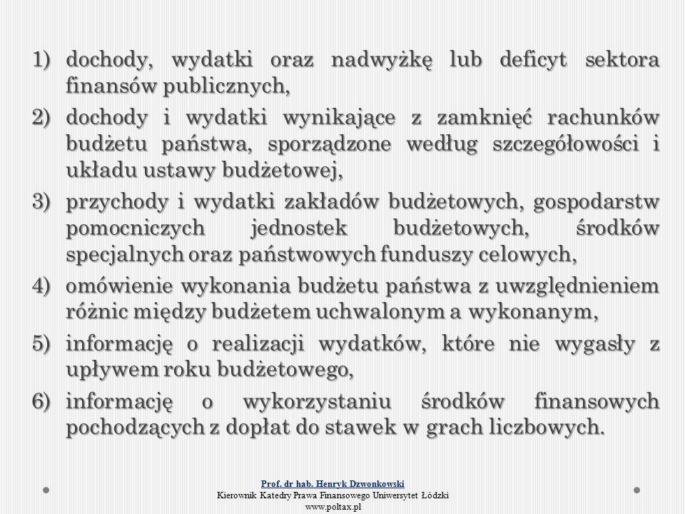 1)dochody, wydatki oraz nadwyżkę lub deficyt sektora finansów publicznych, 2)dochody i wydatki wynikające z zamknięć rachunków budżetu państwa, sporządzone według szczegółowości i układu ustawy budżetowej, 3)przychody i wydatki zakładów budżetowych, gospodarstw pomocniczych jednostek budżetowych, środków specjalnych oraz państwowych funduszy celowych, 4)omówienie wykonania budżetu państwa z uwzględnieniem różnic między budżetem uchwalonym a wykonanym, 5)informację o realizacji wydatków, które nie wygasły z upływem roku budżetowego, 6)informację o wykorzystaniu środków finansowych pochodzących z dopłat do stawek w grach liczbowych.