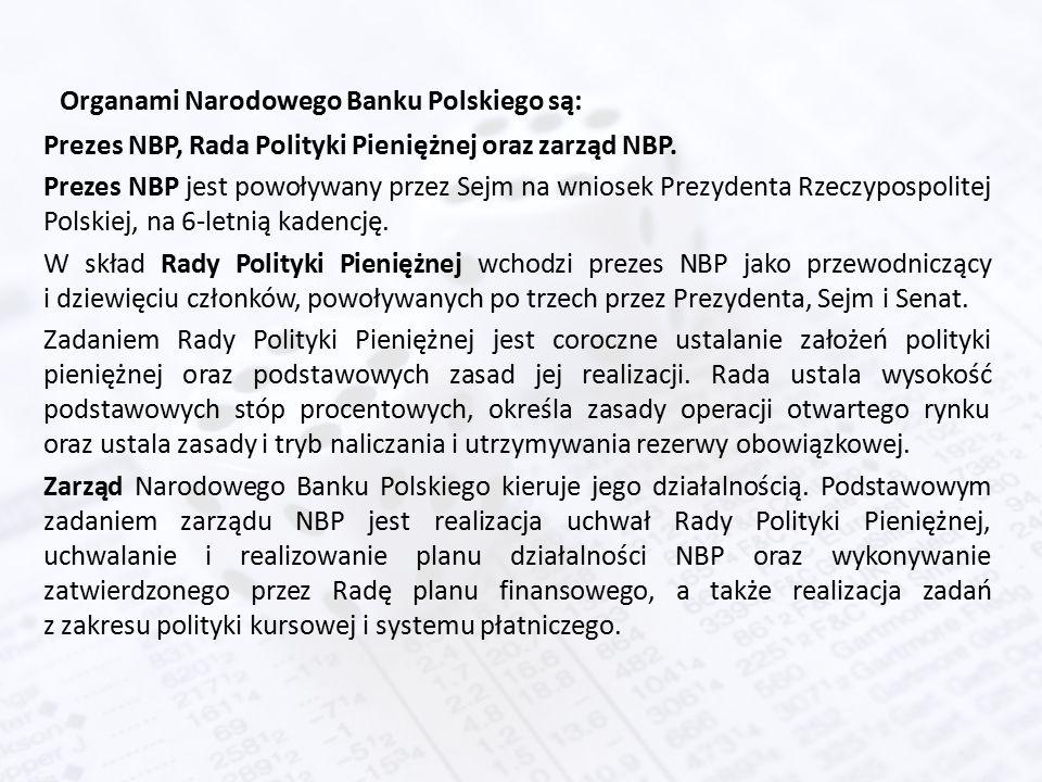 Organami Narodowego Banku Polskiego są: Prezes NBP, Rada Polityki Pieniężnej oraz zarząd NBP.