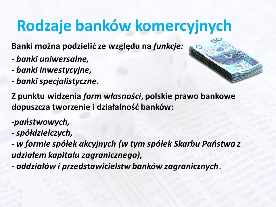 Rodzaje banków komercyjnych Banki można podzielić ze względu na funkcje: - banki uniwersalne, - banki inwestycyjne, - banki specjalistyczne.