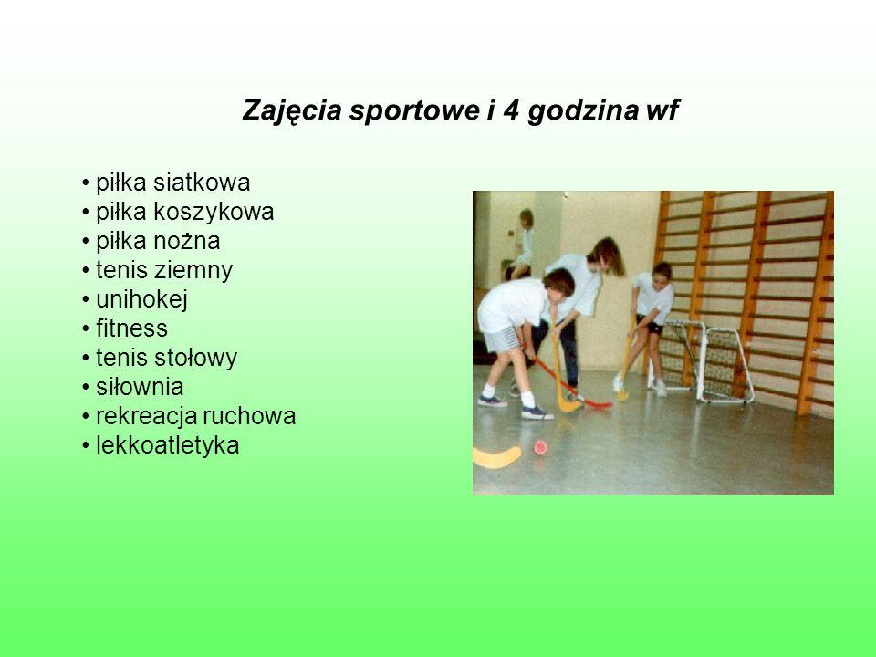 Zajęcia sportowe i 4 godzina wf piłka siatkowa piłka koszykowa piłka nożna tenis ziemny unihokej fitness tenis stołowy siłownia rekreacja ruchowa lekk