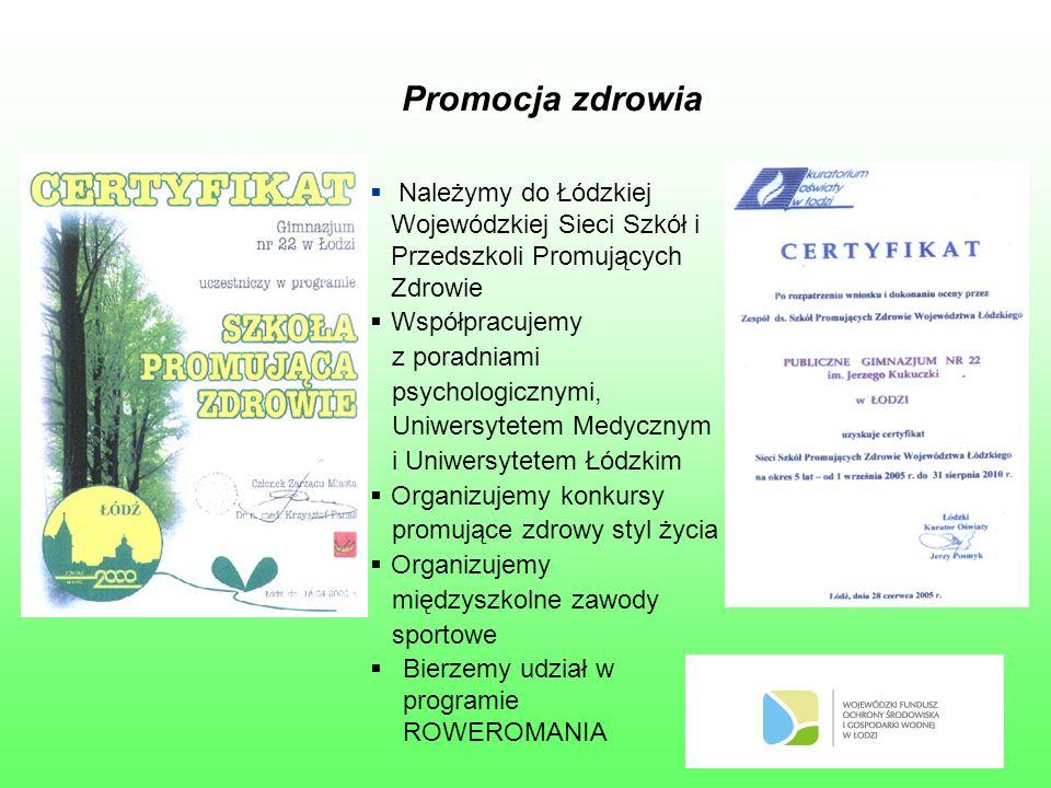 Promocja zdrowia  Należymy do Łódzkiej Wojewódzkiej Sieci Szkół i Przedszkoli Promujących Zdrowie  Współpracujemy z poradniami psychologicznymi, Uniwersytetem Medycznym i Uniwersytetem Łódzkim  Organizujemy konkursy promujące zdrowy styl życia  Organizujemy międzyszkolne zawody sportowe  Bierzemy udział w programie ROWEROMANIA