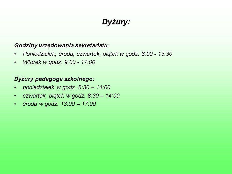 Dyżury: Godziny urzędowania sekretariatu: Poniedziałek, środa, czwartek, piątek w godz. 8:00 - 15:30 Wtorek w godz. 9:00 - 17:00 Dyżury pedagoga szkol