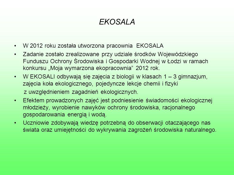 """EKOSALA W 2012 roku została utworzona pracownia EKOSALA Zadanie zostało zrealizowane przy udziale środków Wojewódzkiego Funduszu Ochrony Środowiska i Gospodarki Wodnej w Łodzi w ramach konkursu """"Moja wymarzona ekopracownia 2012 rok."""