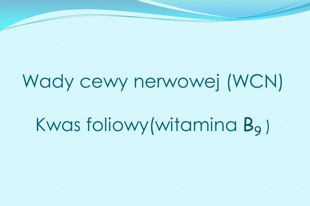 Wady cewy nerwowej (WCN) Kwas foliowy(witamina B 9 )
