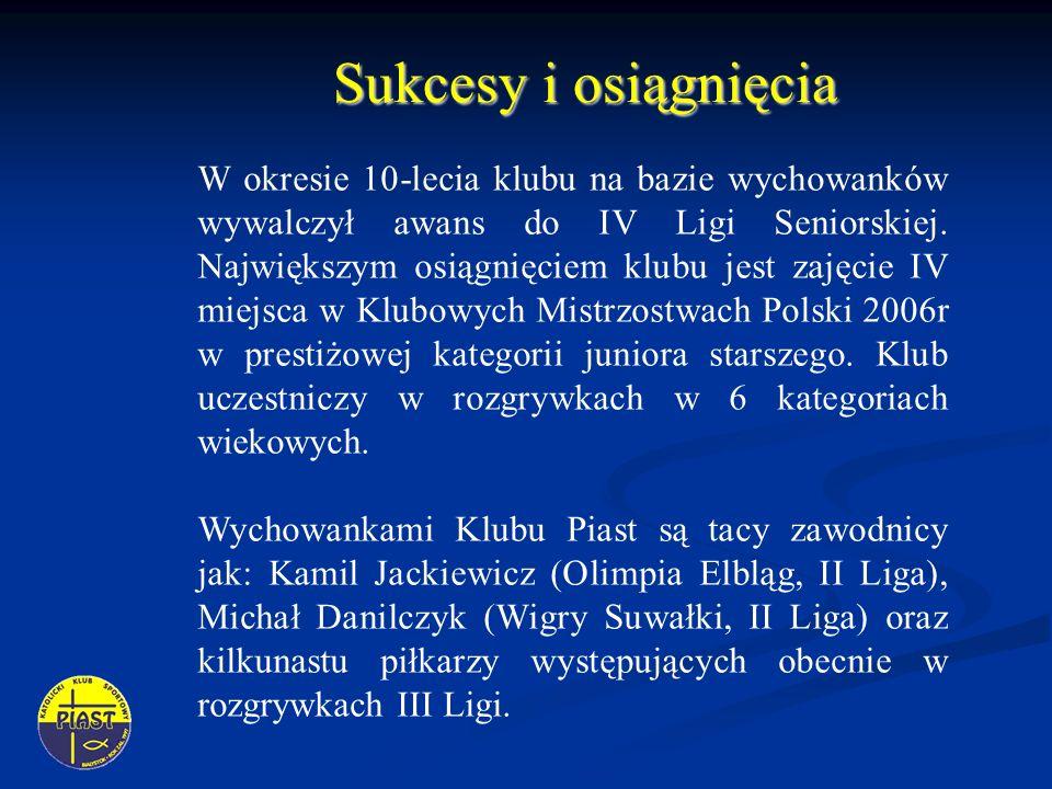 Sukcesy i osiągnięcia W okresie 10-lecia klubu na bazie wychowanków wywalczył awans do IV Ligi Seniorskiej.