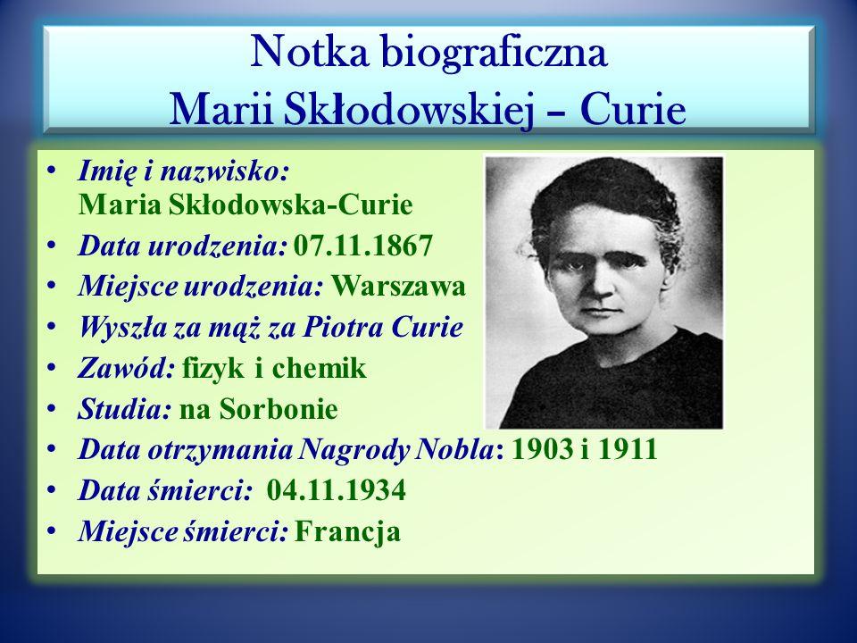 """ONZ i WHO oraz UNESCO ustanowiły rok 2011 """"Rokiem Chemii a patronką światowego roku będzie Maria Skłodowska-Curie (100-lecie drugiej nagrody Nobla) Maria Skłodowska-Curie podkreślała swoje polskie pochodzenie i uczucia patriotyczne mając dwie ojczyzny Polskę i Francję Dwukrotnie odwiedziła Stany Zjednoczone Ameryki Północnej i była przyjmowana w Białym Domu przez prezydenta Hardinga w 1921r."""