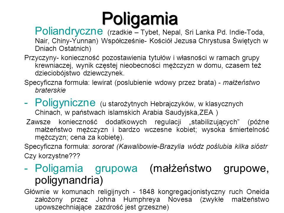 STRUKTURA RODZINY W zależności od typu małżeństwa:  MONOGAMICZNA  POLIGAMICZNA  poligimia – 1 mężczyzna+ wiele kobiet  poliandria – 1 kobieta + wielu mężczyzn Ze względu na krąg ludzi, spośród których wybiera się współmałżonka:  ENDOGAMICZNE ( własna grupa)  EGZOGAMICZNE ( mezalians) Ze względu na prestiż i hierarchię władzy:  PATRIARCHALNE  MATRIARCHALNE