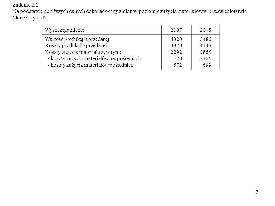 7 Zadanie 2.1 Na podstawie poniższych danych dokonać oceny zmian w poziomie zużycia materiałów w przedsiębiorstwie (dane w tys.