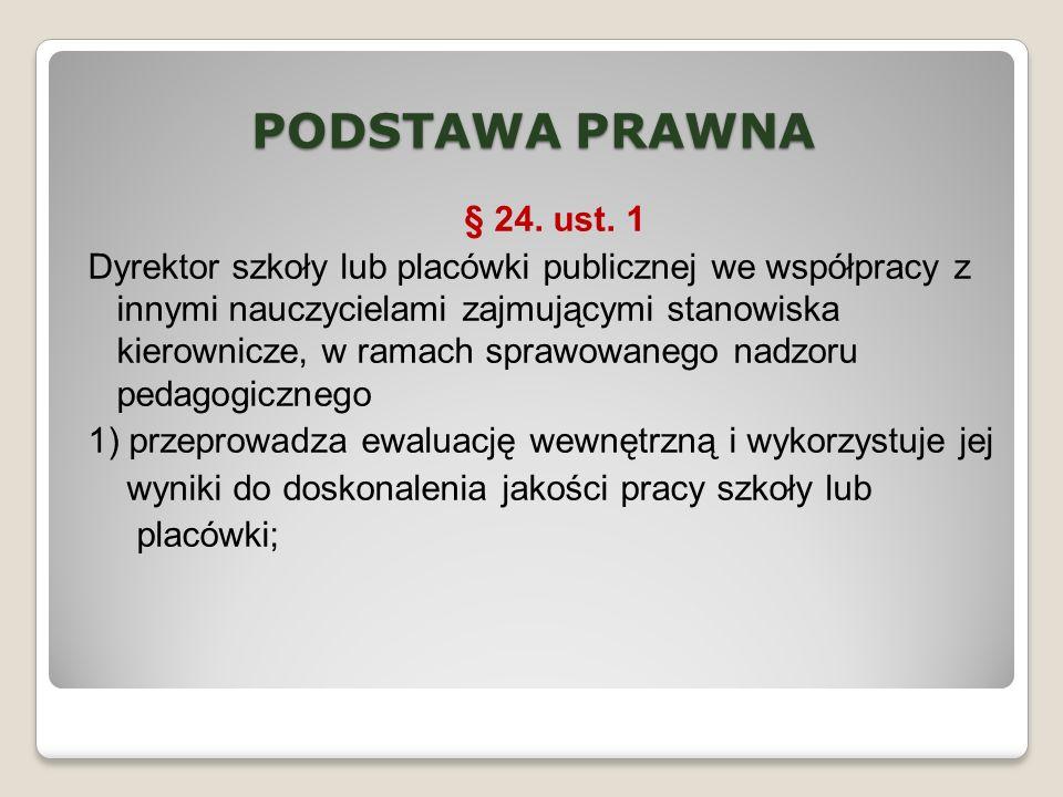 PODSTAWA PRAWNA § 24. ust. 1 Dyrektor szkoły lub placówki publicznej we współpracy z innymi nauczycielami zajmującymi stanowiska kierownicze, w ramach