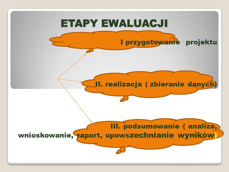ETAPY EWALUACJI I przygotowanie projektu II. realizacja ( zbieranie danych) III. podsumowanie ( analiza, wnioskowanie, raport, upows zechnianie wynikó