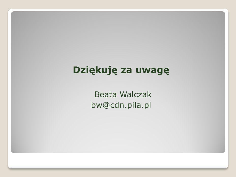 Dziękuję za uwagę Beata Walczak bw@cdn.pila.pl