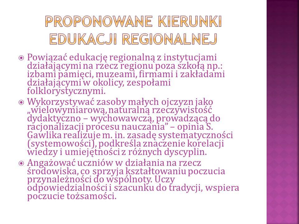  Powiązać edukację regionalną z instytucjami działającymi na rzecz regionu poza szkołą np.: izbami pamięci, muzeami, firmami i zakładami działającymi w okolicy, zespołami folklorystycznymi.