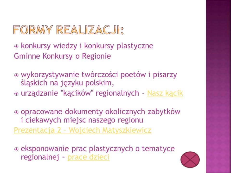  konkursy wiedzy i konkursy plastyczne Gminne Konkursy o Regionie  wykorzystywanie twórczości poetów i pisarzy śląskich na języku polskim,  urządza