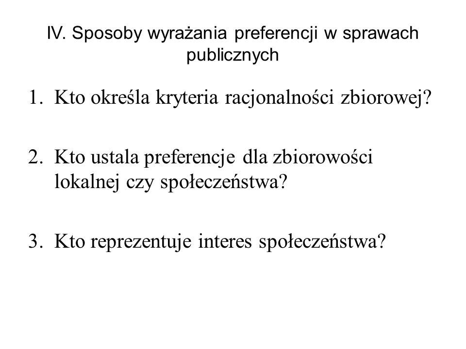 IV. Sposoby wyrażania preferencji w sprawach publicznych 1.Kto określa kryteria racjonalności zbiorowej? 2.Kto ustala preferencje dla zbiorowości loka