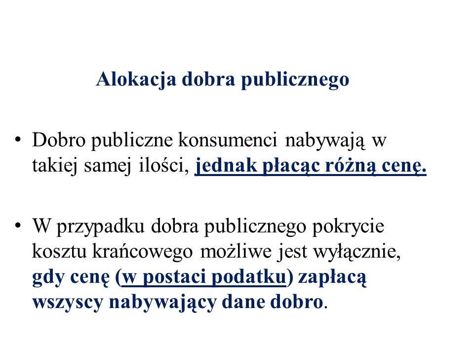 Alokacja dobra publicznego Dobro publiczne konsumenci nabywają w takiej samej ilości, jednak płacąc różną cenę.