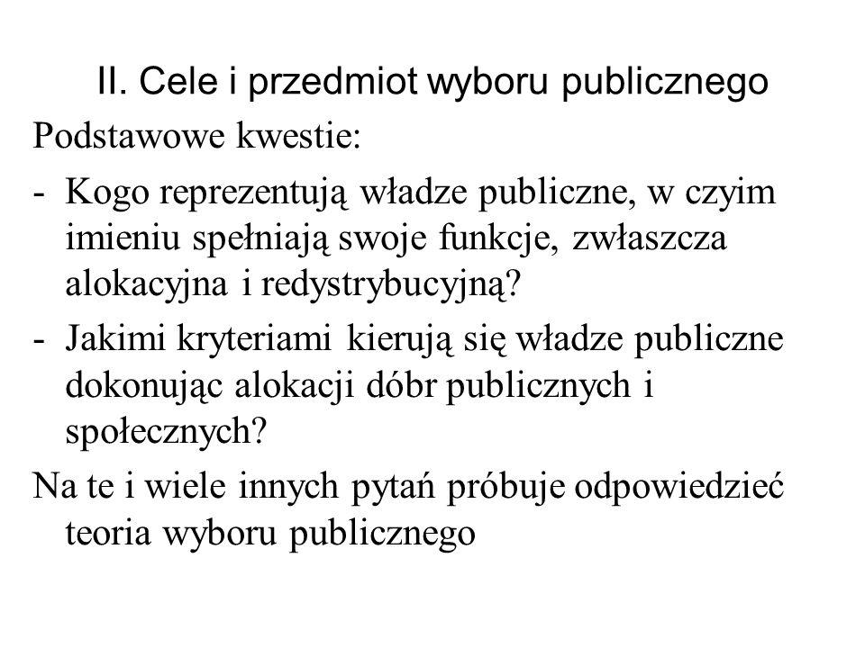 II. Cele i przedmiot wyboru publicznego Podstawowe kwestie: -Kogo reprezentują władze publiczne, w czyim imieniu spełniają swoje funkcje, zwłaszcza al