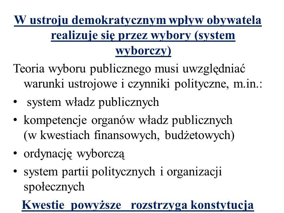 W ustroju demokratycznym wpływ obywatela realizuje się przez wybory (system wyborczy) Teoria wyboru publicznego musi uwzględniać warunki ustrojowe i czynniki polityczne, m.in.: system władz publicznych kompetencje organów władz publicznych (w kwestiach finansowych, budżetowych) ordynację wyborczą system partii politycznych i organizacji społecznych Kwestie powyższe rozstrzyga konstytucja