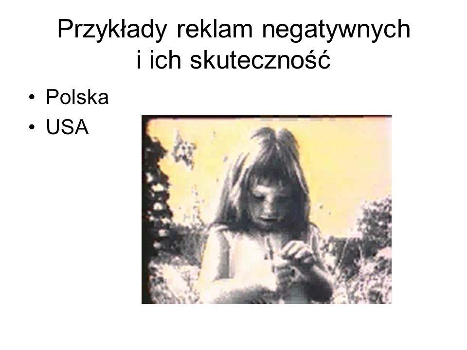 Przykłady reklam negatywnych i ich skuteczność Polska USA