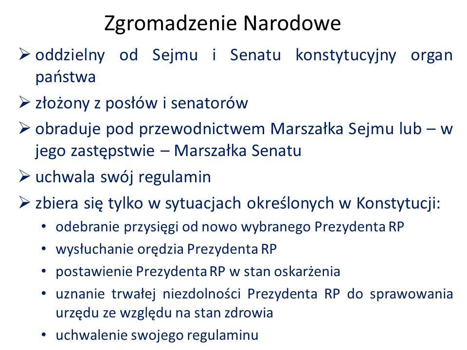 Zgromadzenie Narodowe  oddzielny od Sejmu i Senatu konstytucyjny organ państwa  złożony z posłów i senatorów  obraduje pod przewodnictwem Marszałka