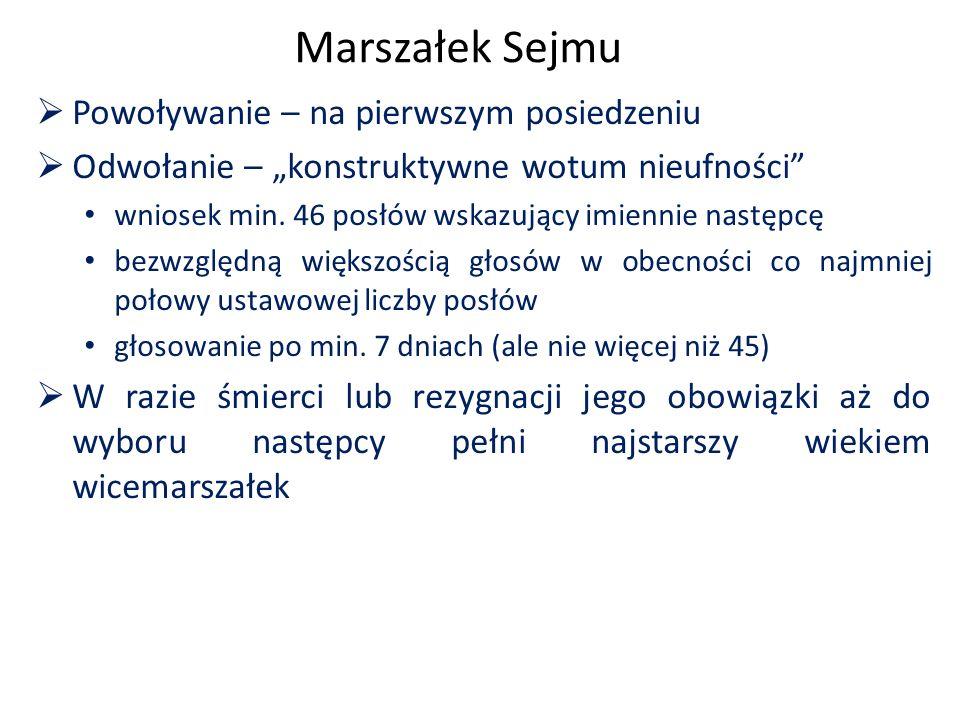 """Marszałek Sejmu  Powoływanie – na pierwszym posiedzeniu  Odwołanie – """"konstruktywne wotum nieufności"""" wniosek min. 46 posłów wskazujący imiennie nas"""