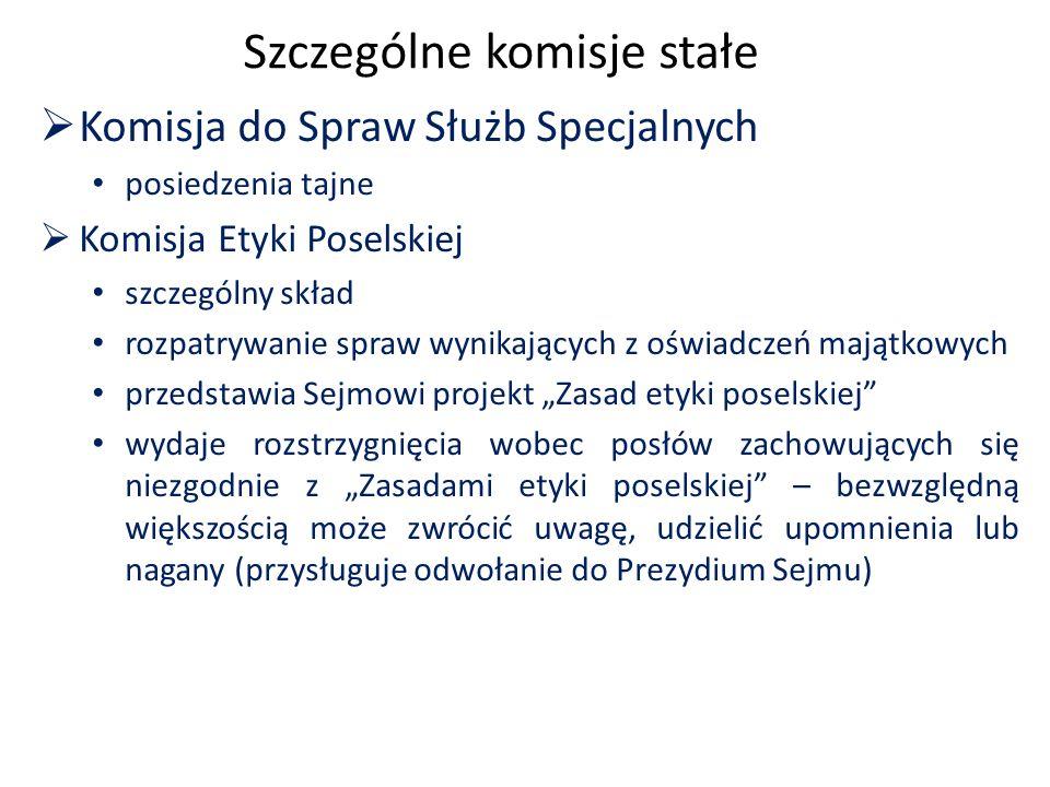 """Szczególne komisje stałe  Komisja do Spraw Służb Specjalnych posiedzenia tajne  Komisja Etyki Poselskiej szczególny skład rozpatrywanie spraw wynikających z oświadczeń majątkowych przedstawia Sejmowi projekt """"Zasad etyki poselskiej wydaje rozstrzygnięcia wobec posłów zachowujących się niezgodnie z """"Zasadami etyki poselskiej – bezwzględną większością może zwrócić uwagę, udzielić upomnienia lub nagany (przysługuje odwołanie do Prezydium Sejmu)"""
