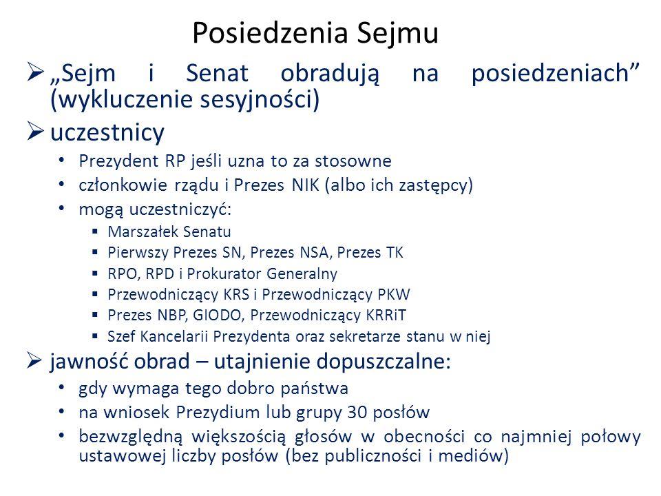 """Posiedzenia Sejmu  """"Sejm i Senat obradują na posiedzeniach (wykluczenie sesyjności)  uczestnicy Prezydent RP jeśli uzna to za stosowne członkowie rządu i Prezes NIK (albo ich zastępcy) mogą uczestniczyć:  Marszałek Senatu  Pierwszy Prezes SN, Prezes NSA, Prezes TK  RPO, RPD i Prokurator Generalny  Przewodniczący KRS i Przewodniczący PKW  Prezes NBP, GIODO, Przewodniczący KRRiT  Szef Kancelarii Prezydenta oraz sekretarze stanu w niej  jawność obrad – utajnienie dopuszczalne: gdy wymaga tego dobro państwa na wniosek Prezydium lub grupy 30 posłów bezwzględną większością głosów w obecności co najmniej połowy ustawowej liczby posłów (bez publiczności i mediów)"""
