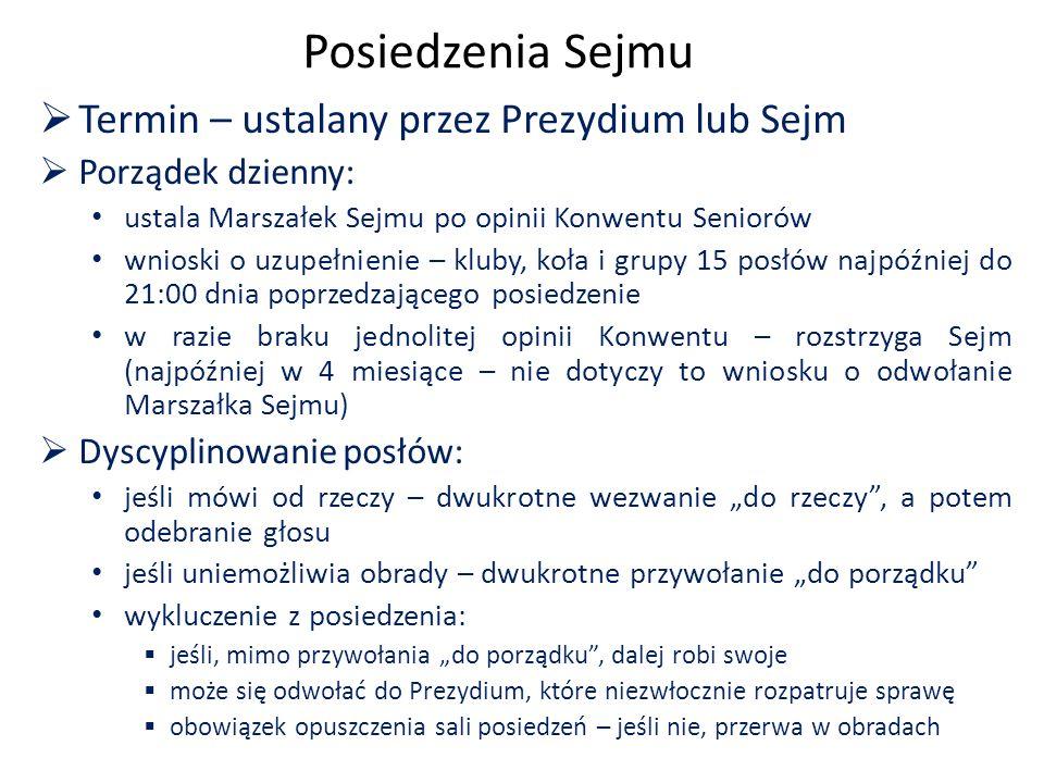 Posiedzenia Sejmu  Termin – ustalany przez Prezydium lub Sejm  Porządek dzienny: ustala Marszałek Sejmu po opinii Konwentu Seniorów wnioski o uzupeł