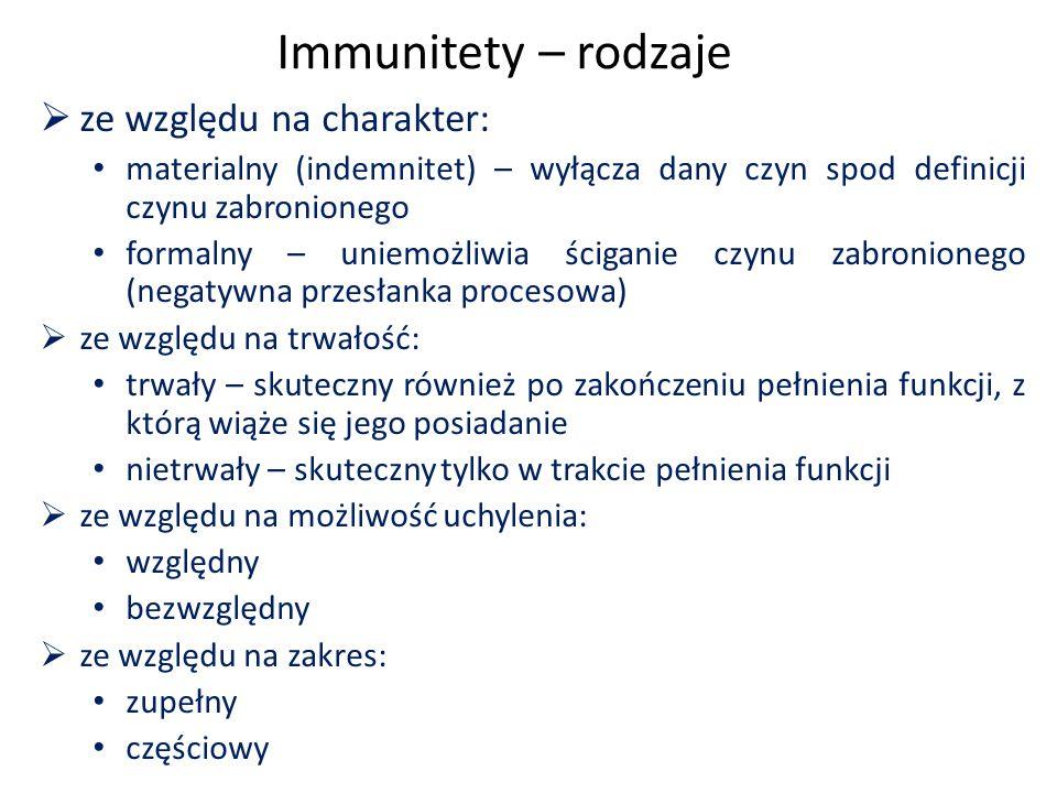 Immunitety – rodzaje  ze względu na charakter: materialny (indemnitet) – wyłącza dany czyn spod definicji czynu zabronionego formalny – uniemożliwia