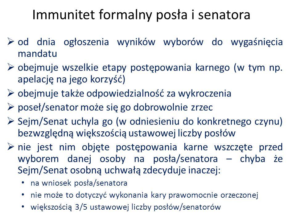 Immunitet formalny posła i senatora  od dnia ogłoszenia wyników wyborów do wygaśnięcia mandatu  obejmuje wszelkie etapy postępowania karnego (w tym np.