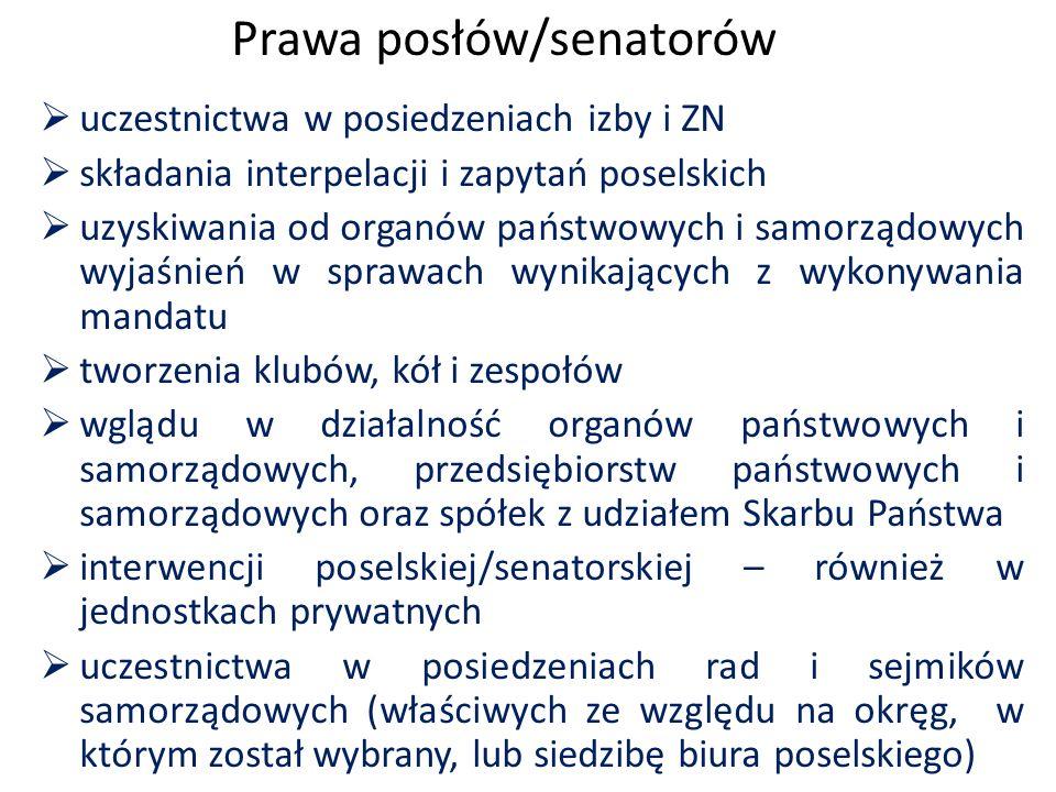Prawa posłów/senatorów  uczestnictwa w posiedzeniach izby i ZN  składania interpelacji i zapytań poselskich  uzyskiwania od organów państwowych i s