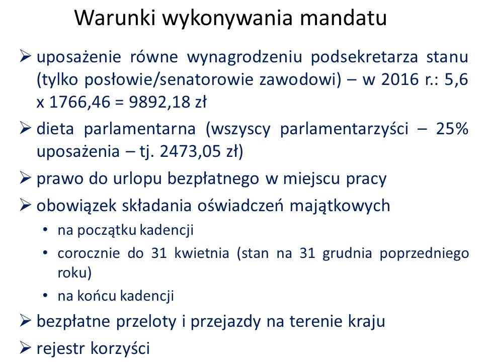 Warunki wykonywania mandatu  uposażenie równe wynagrodzeniu podsekretarza stanu (tylko posłowie/senatorowie zawodowi) – w 2016 r.: 5,6 x 1766,46 = 9892,18 zł  dieta parlamentarna (wszyscy parlamentarzyści – 25% uposażenia – tj.