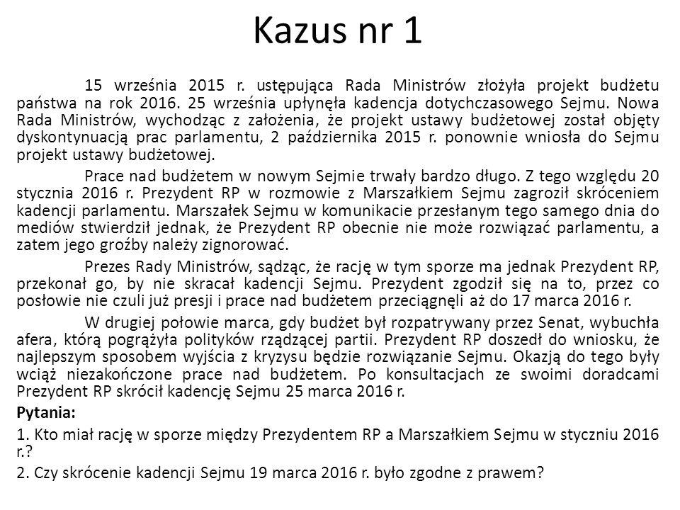 15 września 2015 r. ustępująca Rada Ministrów złożyła projekt budżetu państwa na rok 2016. 25 września upłynęła kadencja dotychczasowego Sejmu. Nowa R