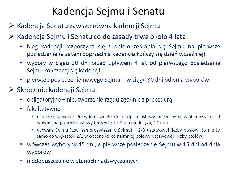 Kadencja Sejmu i Senatu  Kadencja Senatu zawsze równa kadencji Sejmu  Kadencja Sejmu i Senatu co do zasady trwa około 4 lata: bieg kadencji rozpoczyna się z dniem zebrania się Sejmu na pierwsze posiedzenie (a zatem poprzednia kadencja kończy się dzień wcześniej) wybory w ciągu 30 dni przed upływem 4 lat od pierwszego posiedzenia Sejmu kończącej się kadencji pierwsze posiedzenie nowego Sejmu – w ciągu 30 dni od dnia wyborów  Skrócenie kadencji Sejmu: obligatoryjne – nieutworzenie rządu zgodnie z procedurą fakultatywne:  nieprzedstawienie Prezydentowi RP do podpisu ustawy budżetowej w 4 miesiące od wpłynięcia projektu ustawy (Prezydent RP ma na decyzję 14 dni)  uchwałą Sejmu (tzw.