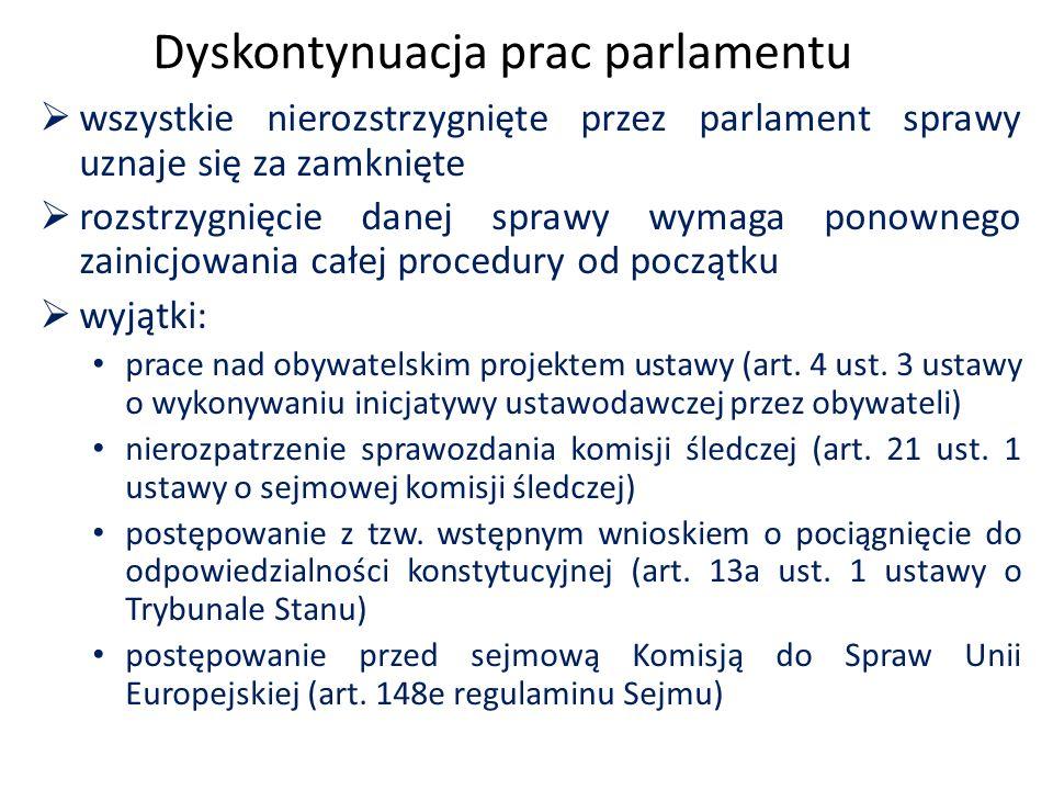 Dyskontynuacja prac parlamentu  wszystkie nierozstrzygnięte przez parlament sprawy uznaje się za zamknięte  rozstrzygnięcie danej sprawy wymaga pono
