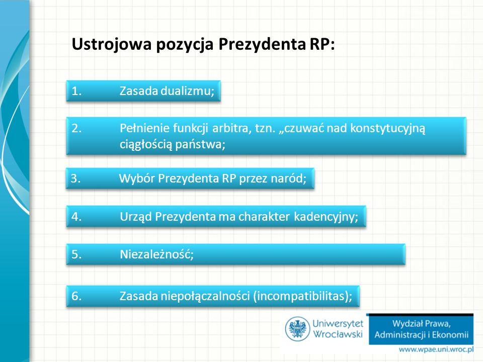 Ustrojowa pozycja Prezydenta RP: 1.Zasada dualizmu; 2.Pełnienie funkcji arbitra, tzn.