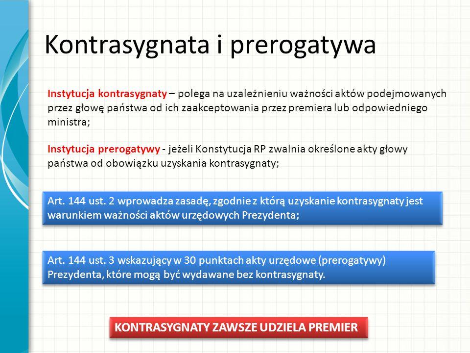 Kompetencje Prezydenta Relacje z pozostałymi władzami : Stosunki Prezydenta z parlamentem: a.Organizacyjne; b.Inicjatywne; c.Hamujące; Stosunki Prezydenta z rządem – powoływanie RM: a.Przyjmowanie dymisji RM; b.Desygnowanie premiera i powoływanie nowego rządu; c.W razie niepowodzenia trzech kolejnych procedur uzyskania sejmowego wotum zaufania dla nowego rządu – rozwiązywania Sejmu (art.
